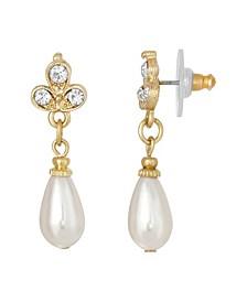 Gold-Tone Crystal Imitation Pearl Drop Earring