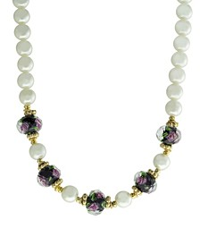 """Gold-Tone Imitation Pearl and Black Floral Beaded 15"""" Adjustable Necklace"""