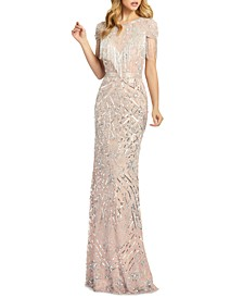 Embellished Fringed Gown