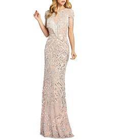 Embellished Fringed Gown