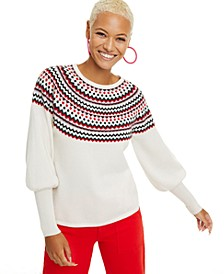 Fair Isle Puff-Sleeve Cashmere Sweater, Regular & Petite Sizes, Created for Macy's