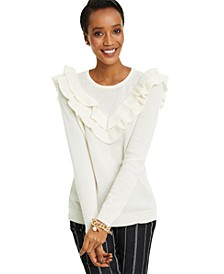 Petite Cashmere Ruffle-Trim Sweater, Created for Macy's
