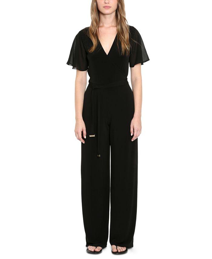 Michael Kors - Flutter-Sleeve Belted Jumpsuit