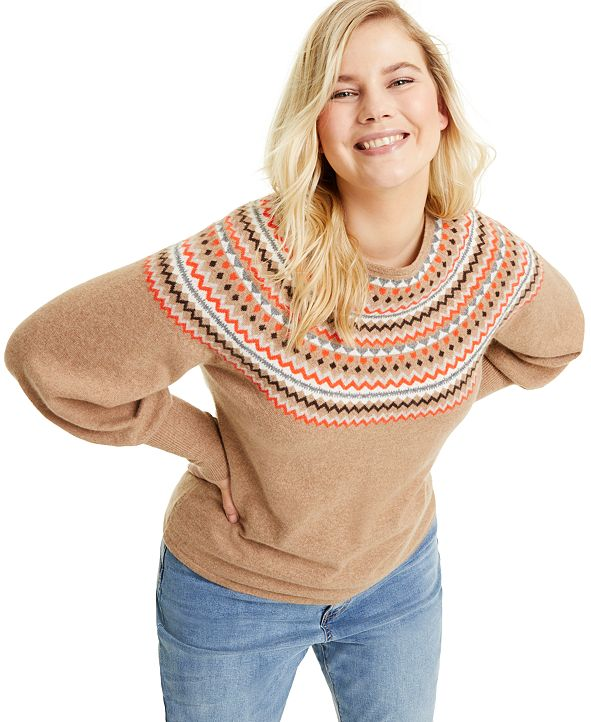 Charter Club Plus Size Cashmere Fair Isle Sweater, Created for Macy's