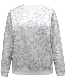Petite Printed Fleece Crew Neck Sweatshirt, Created for Macy's