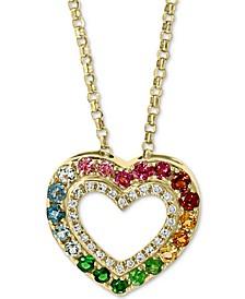 "EFFY® Multi-Gemstone (3/8 ct. t.w.) & Diamond (1/10 ct. t.w.) Heart 18"" Pendant Necklace in 14k Gold"