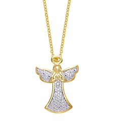 Diamond Accent Gold-plated Angel Pendant Necklace