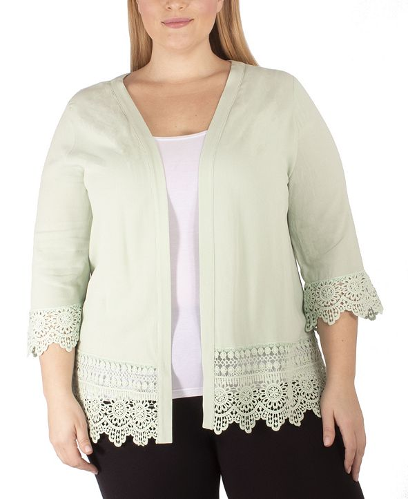 NY Collection Women's Plus Size 3/4 Sleeve Crochet Cardigan