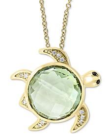"EFFY® Green Quartz (7 ct. t.w.) & Diamond (1/20 ct. t.w.) Turtle 18""Pendant Necklace in 14k Gold"