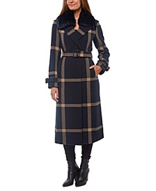 Faux-Fur-Collar Plaid Maxi Coat