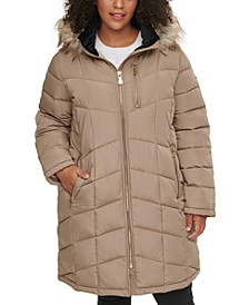 Plus Size Faux-Fur Trim Hooded Puffer Coat
