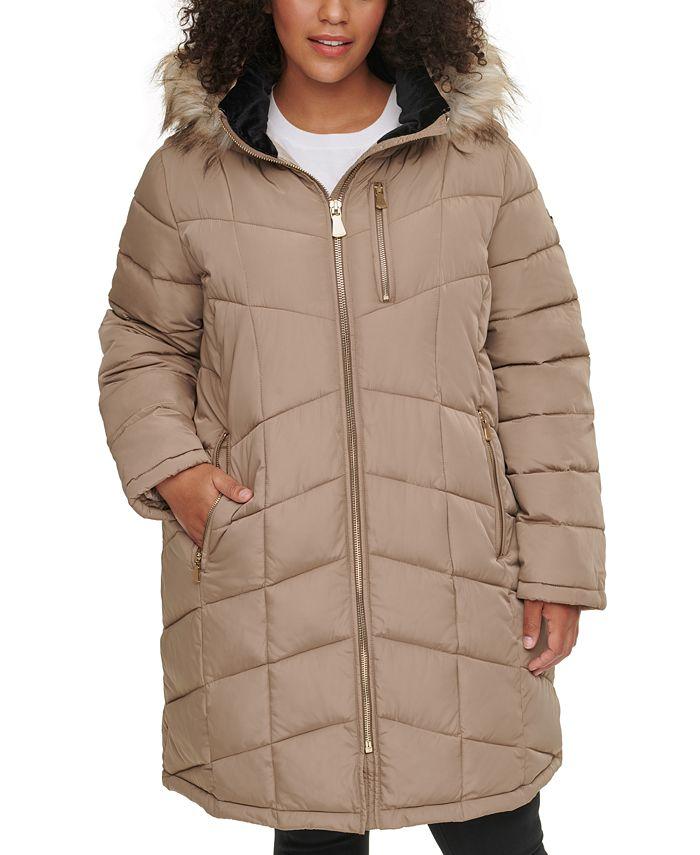 Calvin Klein - Plus Size Faux-Fur Trim Hooded Puffer Coat