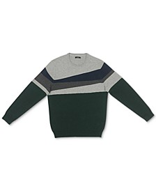 Men's Blocked Crewneck Cotton Sweater, Created for Macy's