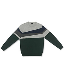 Alfani Men's Blocked Crewneck Cotton Sweater, Created for Macy's