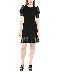 Leather-Trim Puff-Sleeve Dress, Regular & Petite Sizes