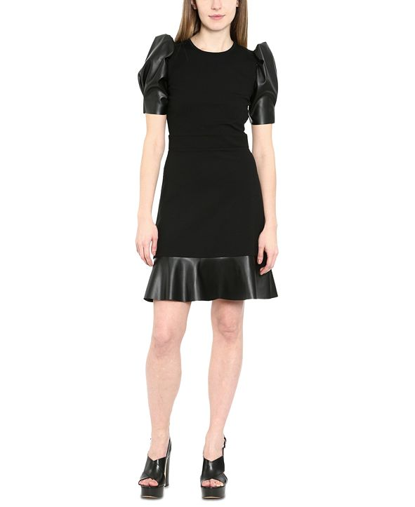 Michael Kors Plus Size Faux-Leather Puff-Sleeve Dress