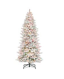 "7.5"" Pre-Lit Slim Flocked Fraser Fir Artificial Christmas Tree"