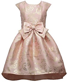 Big Girl Short Sleeve Foiled Mikado High Low Dress With Oversized Bow At Waist