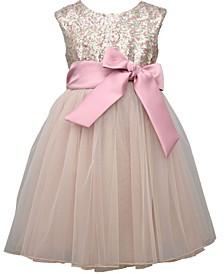 Big Girl Cap Sleeve Sequin Bodice Dress With T-Length Mesh Ballerina Skirt And Satin Bow