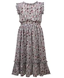 Little Girl Flutter Sleeved Lurex Chiffon Smocked Waist Midi Length Dress With Deep Flounce