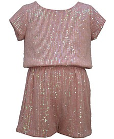 Big Girl Short Sleeved Sparkly Sequin Romper With Bow Back Detail.