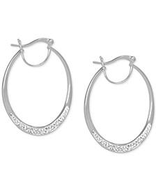 Crystal Oval Hoop Earrings in Fine Silver-Plate