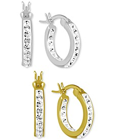 """2-Pc. Set Crystal Small Hoop Earrings in Fine Silver-Plate & Gold-Plate, 0.65"""""""
