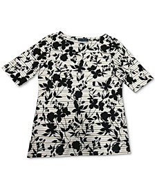 Plus Size Floral-Print Boat-Neck Top, Created for Macy's