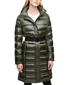 Shine Hooded Belted Packable Down Puffer Coat