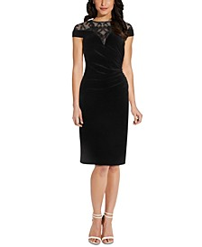 Illusion-Neck Velvet Sheath Dress