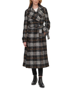 Vintage Coats & Jackets | Retro Coats and Jackets Calvin Klein Plaid Belted Wrap Coat $184.00 AT vintagedancer.com