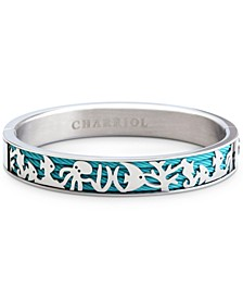 Sea Creature Bangle Bracelet in Blue PVD Cable & Stainless Steel