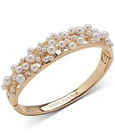 Gold-Tone Pavé & Imitation Pearl Scatter Bangle Bracelet