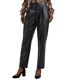 INC Faux-Leather Pleat-Front Pants, Created for Macy's