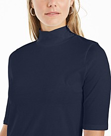 Supima® Cotton Mock-Neck Top, Created for Macy's
