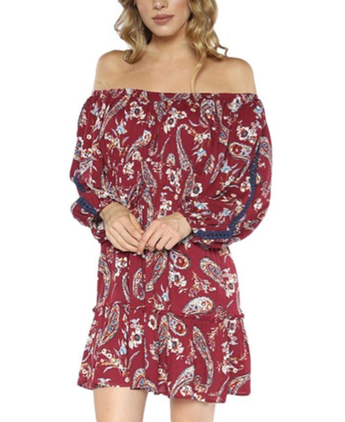 Teeze Me - Juniors' Off-The-Shoulder Printed Dress