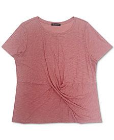 INC Plus Size Cotton Twist-Front T-Shirt, Created for Macy's