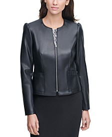 Collarless Faux-Leather Jacket