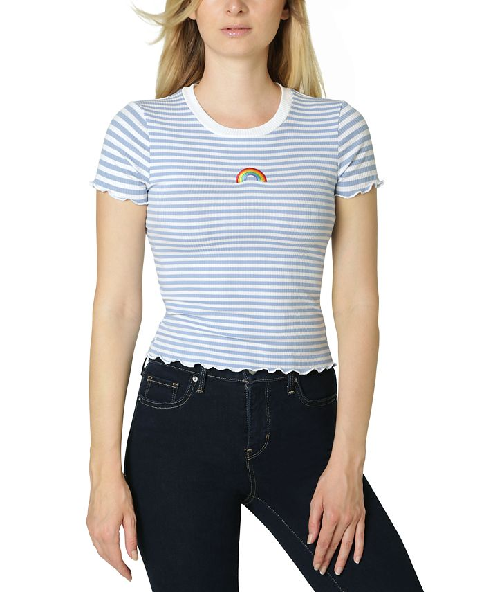 Polly & Esther - Juniors' Embroidery-Trim Lettuce-Edge T-Shirt