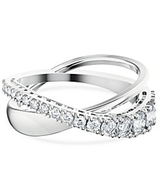 Silver-Tone Crystal Twist Double-Row Ring