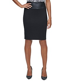 Faux-Leather-Trim Pencil Skirt