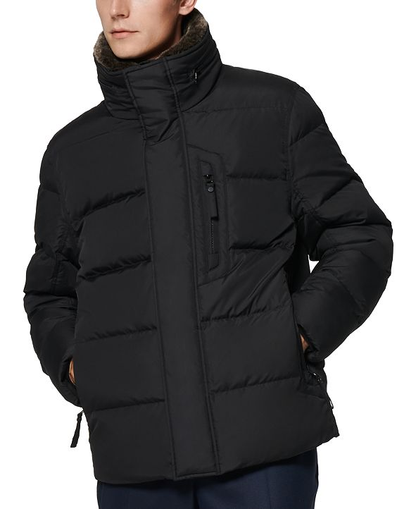 Marc New York Men's Horizon Quilted Puffer Jacket with Hidden Hood & Removable Faux-Fur Trim