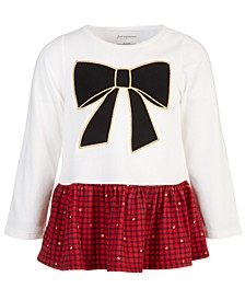 Toddler Girls Holiday Bow Peplum Cotton Tunic, Created for Macy's