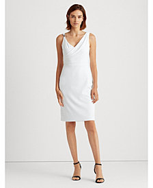 Lauren Ralph Lauren Embellished Surplice Jersey Cocktail Dress