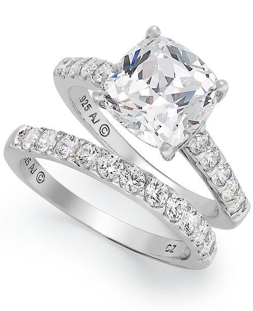 1421675041e Arabella Sterling Silver Ring Set, Swarovski Zirconia Bridal Ring and Band  Set (8 ct