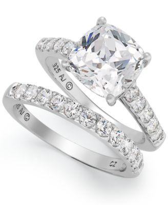Gentil Arabella Sterling Silver Ring Set, Swarovski Zirconia Bridal Ring And Band  Set (8 Ct