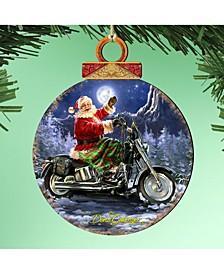 by Dona Gelsinger Santa Motorcycle Rider Ornament, Set of 2