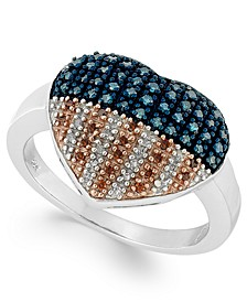 Sterling Silver Ring, Diamond and Diamond Accent Flag Heart Ring (1/3 ct. t.w.)