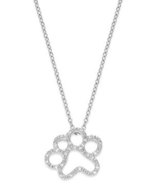 Aspca Tender Voices Diamond Paw Outline Pendant in Sterling Silver (1/10 ct. t.w.)