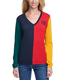 Ivy Colorblocked V-Neck Sweater